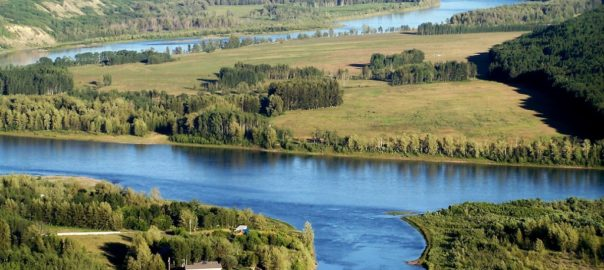 aerial view of Peace River in Fort St. John